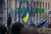 KIEV,UKRAINE FEB 22: Flag of Ukraine over the barricades in Kiev city centre 2014
