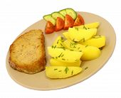 picture of meatloaf  - meatloaf with potatoes and vegetable on brown plate isolated - JPG