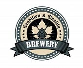 stock photo of superimpose  - Brewery icon for tradition and quality with a circular frame enclosing the text and a hop on leaves superimposed with a ribbon banner saying Brewery in grey on white - JPG