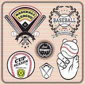 image of softball  - set of vector emblems and signs for baseball - JPG