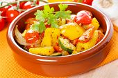 picture of pot roast  - fresh roasted mixed vegetables in a clay pot - JPG
