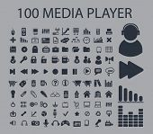 100 media player, music, internet interface icons set, vector