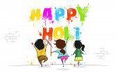 stock photo of holi  - easy to edit vector illustration of kids enjoying Holi - JPG