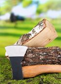 stock photo of ax  - Ax and firewood on green grass - JPG
