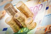 stock photo of 50s  - Euro Money Coins and Banknotes  - JPG