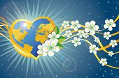 Planet Earth In Heart Form With Spring Flowers And Ribbons