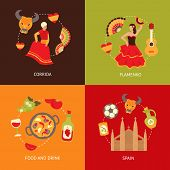 stock photo of bullfighting  - Spain culture symbols corrida bullfight and paella food vine sangria travel icons composition set flat vector illustration - JPG