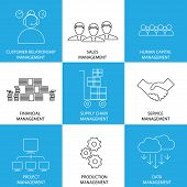 image of supply chain  - flat line icons of management of finance sales service  - JPG