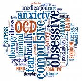 pic of cognitive  - OCD or Obsessive Compulsive Disorder in word collage - JPG