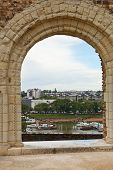 picture of anjou  - view of urban port from Angers Castle France - JPG