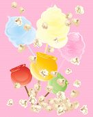 picture of candy cotton  - an illustration of sweet snacks including cotton candy popcorn and candy apples on a pink background - JPG