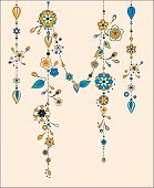 picture of windchime  - Illustration of Decorative Wind Chimes with floral ornament design - JPG