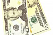 pic of twenty dollars  - The twenty dollars isolated on white background - JPG