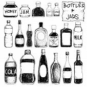 picture of drawing beer  - Vector illustration of bottles and jars in doodle style - JPG