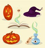 image of magickal  - helloween set of objects of pumpkin hat poison book - JPG