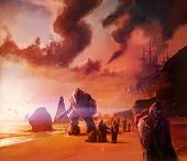 stock photo of smog  - Scifi warriors walking on a ocean evening shore with robots and people illustration background - JPG