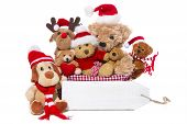 stock photo of teddy  - Group of teddy bears or santa claus says merry christmas and a happy new year - JPG
