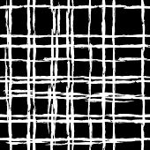 foto of cross-hatch  - Vintage striped seamless pattern with crossing brushed lines in black and white colors - JPG