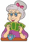 Постер, плакат: Старая леди играя в покер