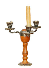 picture of flambeau  - triple candlestick with one candle isolated on white background - JPG