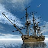 picture of medusa  - Beautiful detailed old french frigate Medusa - JPG