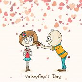 foto of corazon  - Cute boy cartoon offering chocolate to his beloved on hearts decorated background on occasion of Happy Valentines Day - JPG