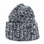 stock photo of knitted cap  - a mottled knit cap on a white background - JPG