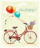 foto of gift basket  - Birthday greeting card with bicycle and gifts in cartoon style on light background - JPG