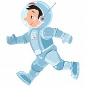 picture of starship  - Children vector illustration of funny running boy cosmonaut or astronaut - JPG