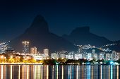 stock photo of olympic mountains  - Nice Night View of Mountains and City Lights of Rio de Janeiro near Rodrigo de Freitas Lagoon - JPG