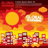 picture of global-warming  - Global Warming Illustration Vector Concept - JPG