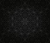 stock photo of damask  - Damask  floral dark pattern with arabesque and oriental black elements - JPG