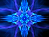 picture of tantric  - Blue glowing space ornament computer generated abstract background - JPG