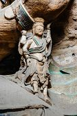 stock photo of grotto  - A Female Bodhisattva in Yungang grotto in Shanxi Provience - JPG