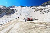 stock photo of italian alps  - summer view in Presena glacier with geotextile fabrics Italian Alps - JPG