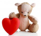 pic of teddy  - Teddy Bear with red heart isolated on white - JPG