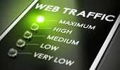 image of traffic light  - Web traffic concept Illustration of seo over black background with green light and blur effect - JPG