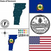 pic of burlington  - Vector set of Vermont state with flag and icons on white background - JPG