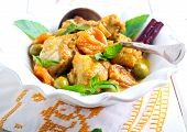picture of apricot  - Lemon chicken with apricots olives and mint - JPG
