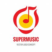 ������, ������: Super Music vector logo concept illustration Music note logo Abstract music logo Melody logo A