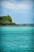 stock photo of sea-scape  - The caracteristic turquoise sea of the island of BoraBora in the French Polynesia - JPG
