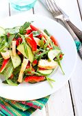 picture of rocket salad  - Rocket chicken red bell pepper and cucumber salad with vinaigrette dressing - JPG