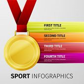stock photo of gold medal  - Gold medal with red ribbon isolated on white - JPG
