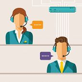 stock photo of faceless  - Vector call center concept with man and woman in headset - JPG
