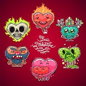 stock photo of grotesque  - Cartoon Valentine Hearts Set for Humor Valentine - JPG
