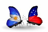 pic of samoa  - Two butterflies with flags on wings as symbol of relations Argentina and Samoa - JPG
