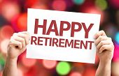 picture of retirement  - Happy Retirement card with colorful background with defocused lights - JPG