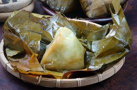 stock photo of food pyramid  - Vietnamese food name Banh Gio - JPG