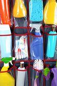stock photo of household  - Household chemicals in holder - JPG