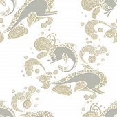 picture of dolphins  - seamless pattern with hand drawing dolphin doodle sketch Vector illustration - JPG